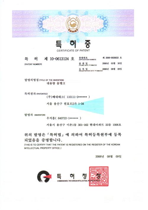 특허증 (제10-0613124호)
